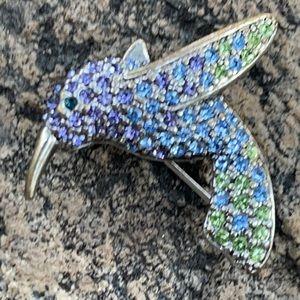 Monet Swarovski Ombré Crystal Hummingbird Brooch